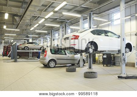 Russia, Kaluga, August, 19, 2015: Interior of a car repair station in Kaluga, Russia