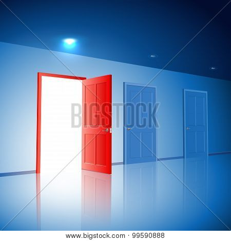 Light in a room through the open door; The choice between the three variants; Version with the left door; Eps10