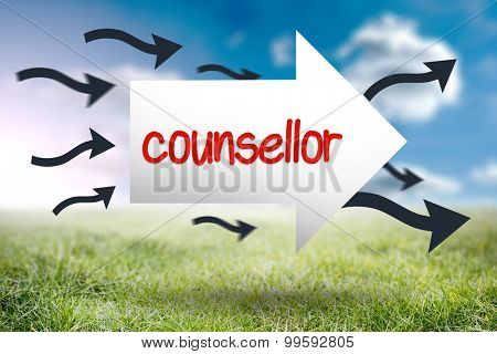 The word counsellor and arrow against sunny landscape
