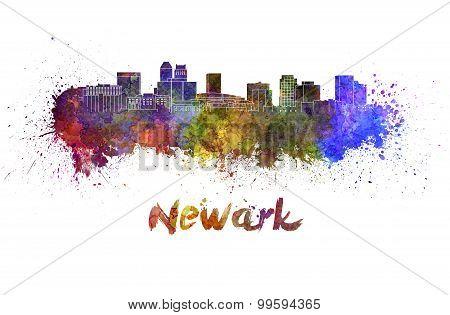 Newark Skyline In Watercolor