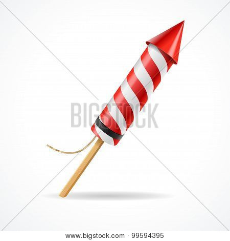 Firework red rocket. Vector