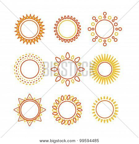 Sun set outline icon. Vector
