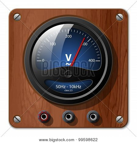Vector Voltmeter Icon On The Wooden Plate