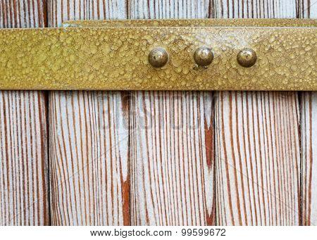 Aged Brass Rim, Natural Wood Pattern Background.