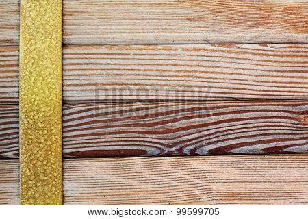 Aged Brass Rim, Natural Wood Pattern Background