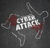 Cyberattack word on a chalk outline to illustrate computer hacking and illegal disruption of secure internet network or information technology system poster