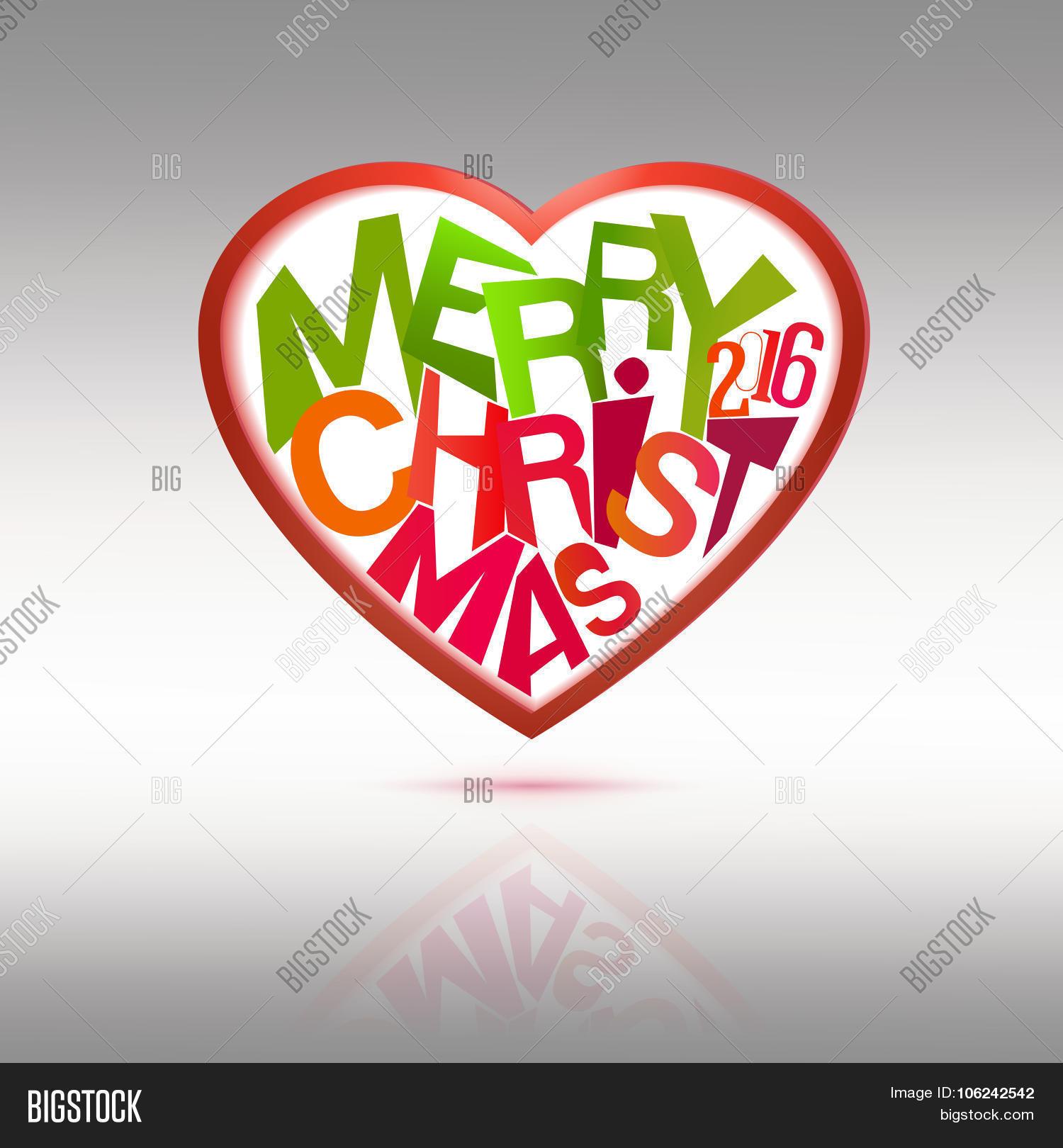 Christmas Heart Vector.Merry Christmas Heart Vector Photo Free Trial Bigstock