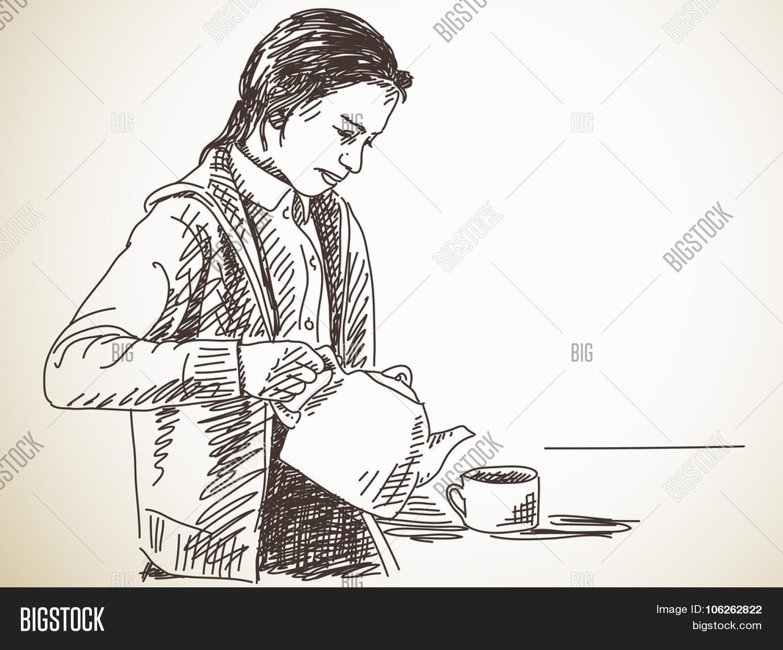 teen girl pours tea vector photo free trial bigstock teen girl pours tea vector photo
