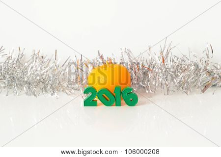 Inscription green figures candle Mandarin shiny tinsel on a white background 2016 poster