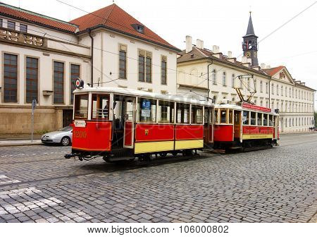 Historical museum tram in the streets of Prague, Czech Republic