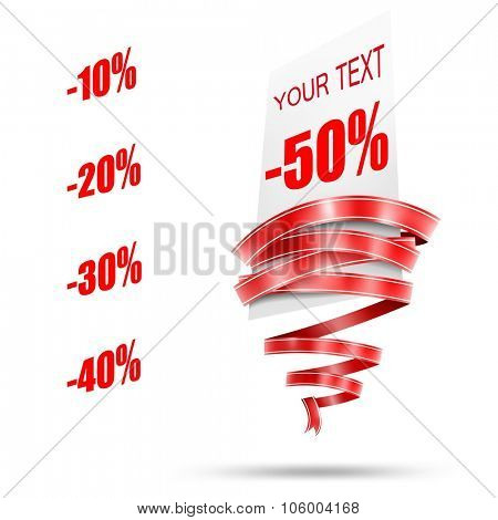 Abstract sale tag and red rounded ribbon