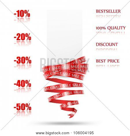 Abstract  sale tag with red ribbon. Blank template. Vector