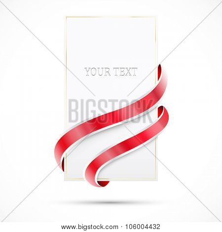 Blank sale tag with shine red ribbons