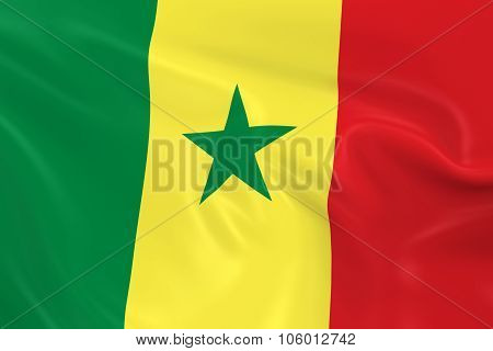 Waving Flag Of Senegal - 3D Render Of The Senegalese Flag With Silky Texture