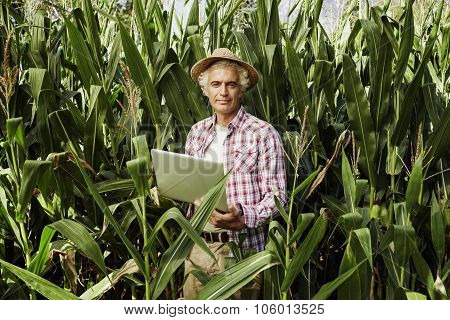 Farmer Using A Laptop In The Field