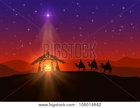 Christian Background With Christmas Star