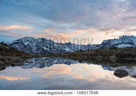 High Altitude Alpine Lake, Reflections At Sunset