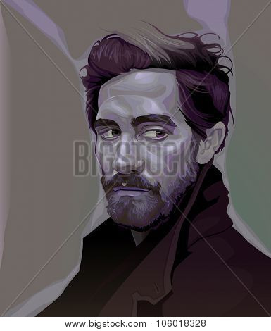 February, 2015. Vector illustration of Jake Gyllenhaal.