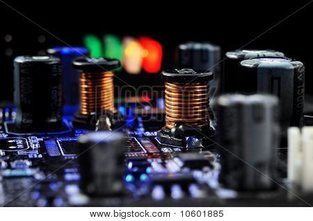 Electronic components on the printed-circuit board. ?lose-up