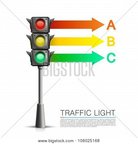 Traffic signal info on a white background