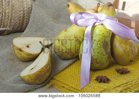 Green Pears On A Sackcloth