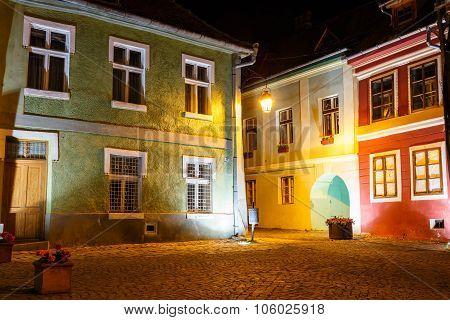 Historical Center Of Sighisoara At Night