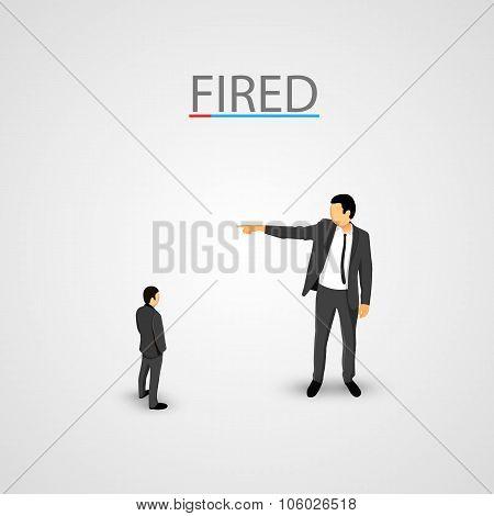 Businessman dismisses. Little man concept