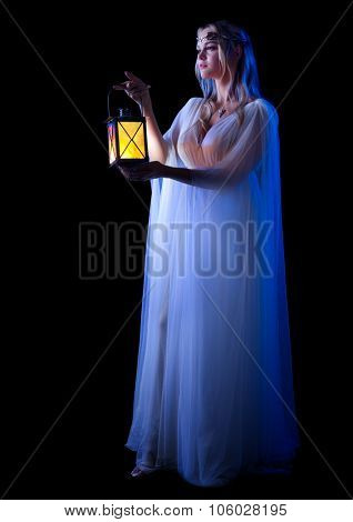 Elven girl with lantern isolated
