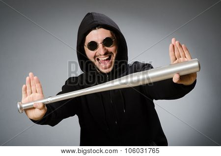 Aggressive man with basebal bat  poster