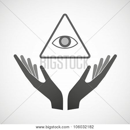 Two Hands Offering An All Seeing Eye