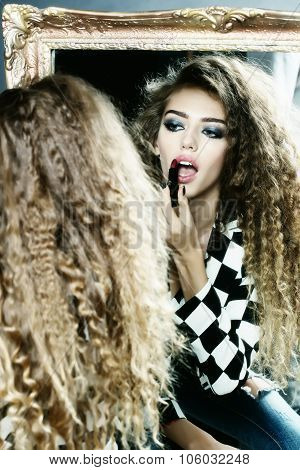 Beautiful Woman Rouges Lips