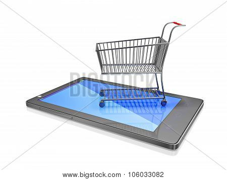 Shopping Cart On Touch Screen Smart Phone
