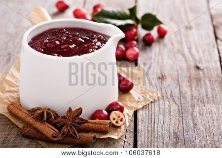 Cranberry sauce in ceramic saucepan