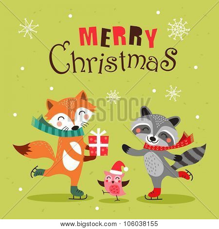 Cute cartoon christmas card, banner and poster design. Vector illustration.