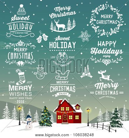 Christmas decoration collection of calligraphic and typographic design with labels, logos, icons elements.
