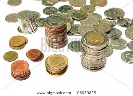 Thai Coins On Isolated Background
