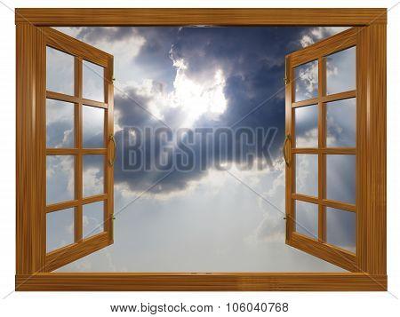 Sunburst Cloudscape Through Open Wood Window