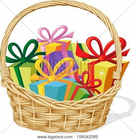 Basket Full Of Gift Isolated On White - Vector Illustration
