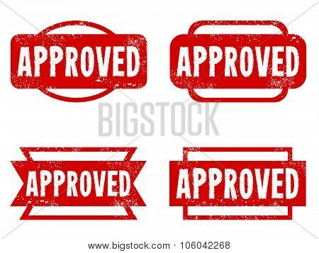 Approved rubber stamps. Grungy red stamp text. poster