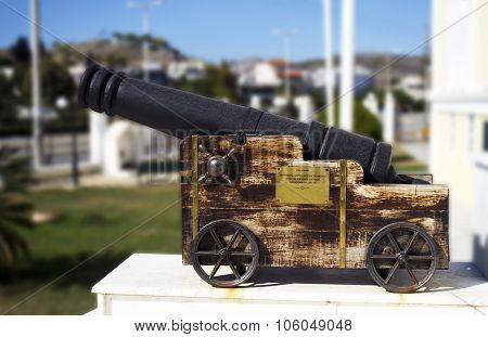 memorial cannon on Salamis town hall in Greece poster