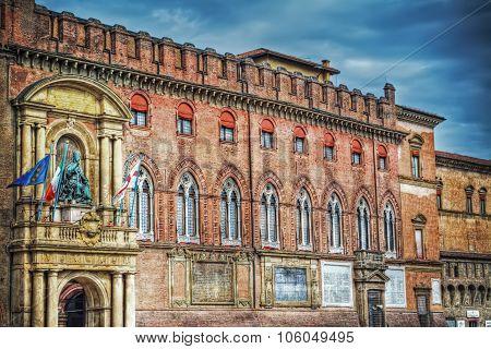 Palazzo D'Accursio under dramatic sky in Bologna Italy poster