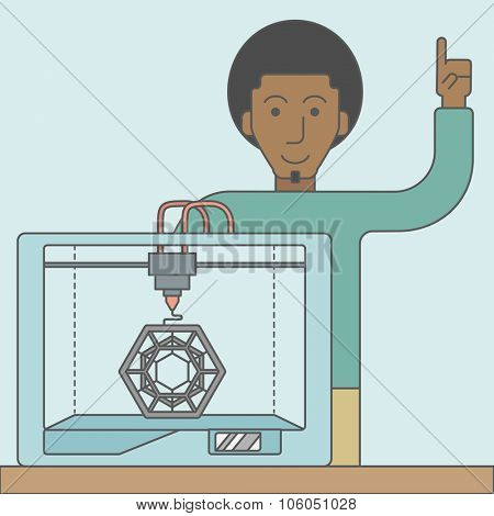 An african-american man standing with 3D printer and a raised hand. Vector line design illustration. Square layout.
