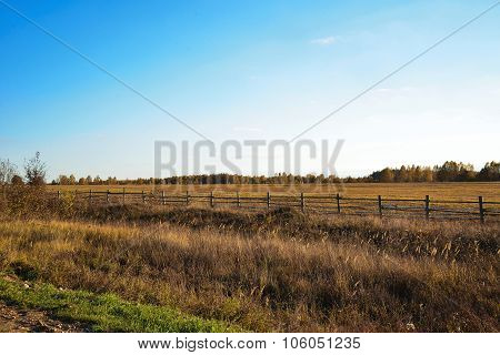 A Big Field With The Fence On A Sunny Day