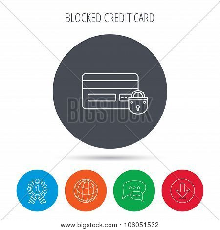 Blocked credit card icon. Shopping sign.