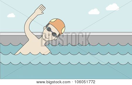 An asian swimmer wearing cap and glasses in water. Vector line design illustration. Horizontal layout with a text space for a social media post.