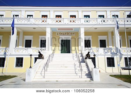 town hall of Salamis island in Greece poster