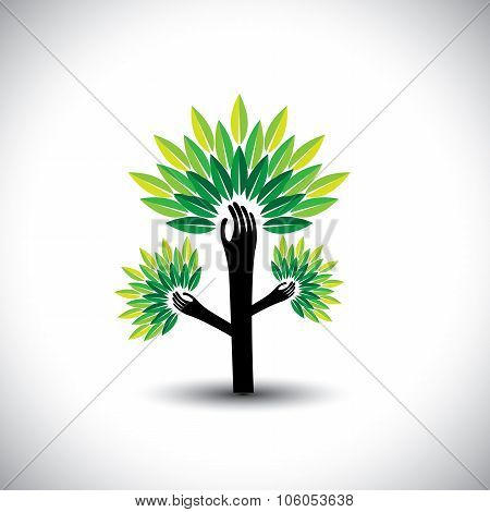 Recycling, Eco Tree Hand With Leaves, Helping Nature - Concept Vector