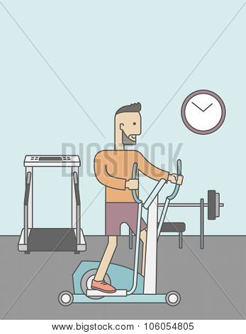 A caucasian hipster man with beard exercising on a elliptical machine in the gym. Vector line design illustration. Vertical layout with a text space for a social media post.