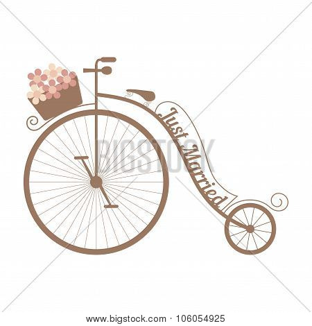 Vector wedding bicycle with basket of pink flowers