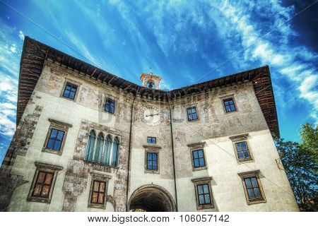 Palazzo dell'Orologio under a cloudy sky in hdr Pisa poster